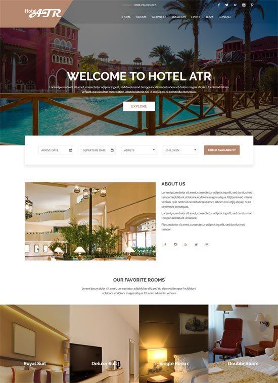 70 Best Hotel Website Templates Free Premium