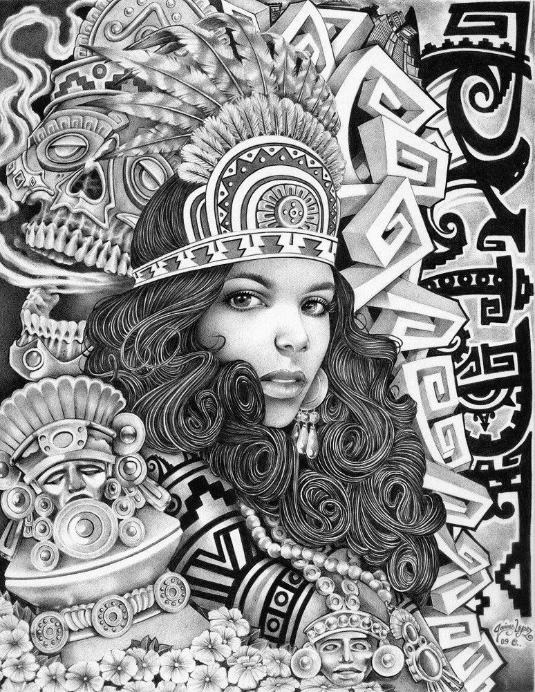 Title: Aztec Girl Artist: Mouse Lopez A bounty of patterns surround a woman with curly hair and an Aztec headdress. Made-to-order giclee fine art reproductions on canvas featuring the original artwork