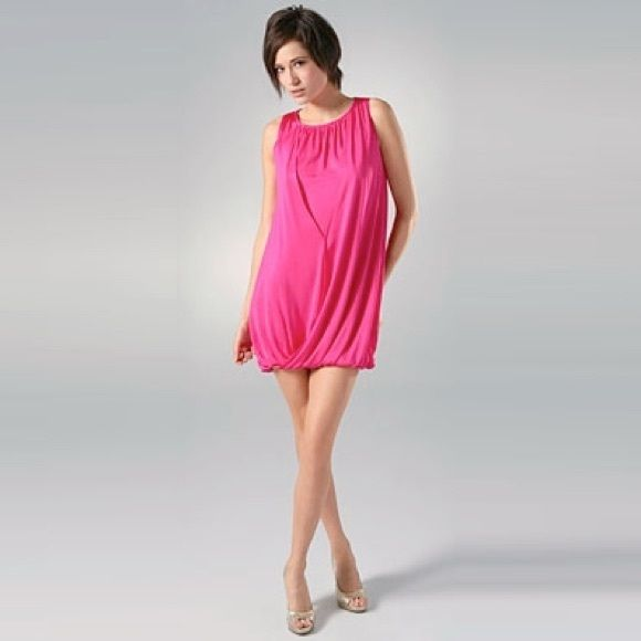 LOWEST PRICE - Alice + Olivia Bubble Hem Dress Hot pink. Bubble hem. Cross front. Double layer silk and viscose fabric. Looks great alone or with a belt. In great condition. Worn once or twice. Incredibly comfortable! Size XS and fits like a small or XS. Alice + Olivia Dresses
