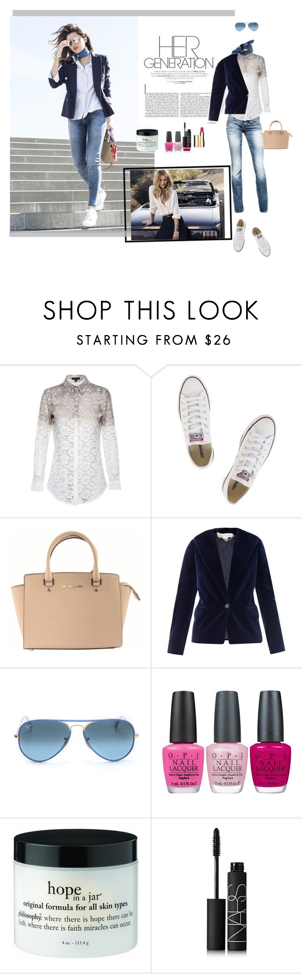 """""""Sweet Disposition"""" by desperer ❤ liked on Polyvore featuring G-Star, Burberry, Converse, ASOS, Michael Kors, STELLA McCARTNEY, Ray-Ban, OPI, NARS Cosmetics and Clarins"""
