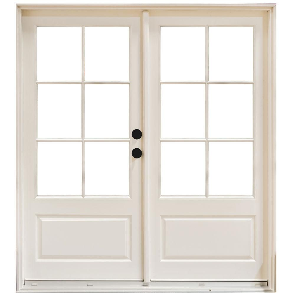Mp Doors 60 In X 80 In Fiberglass Smooth White Left Hand Inswing Hinged 3 4 Lite Patio Door With 6 Lite Sdl Hn5068l3qd6 The Home Depot In 2020 French Doors Interior Fiberglass Patio Doors Patio Doors