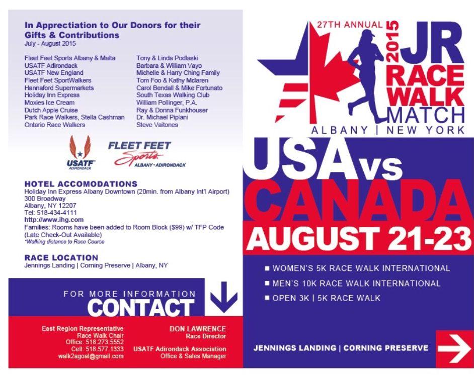 2017 USA vs CANADA JR Race Walk Match Program Design Front
