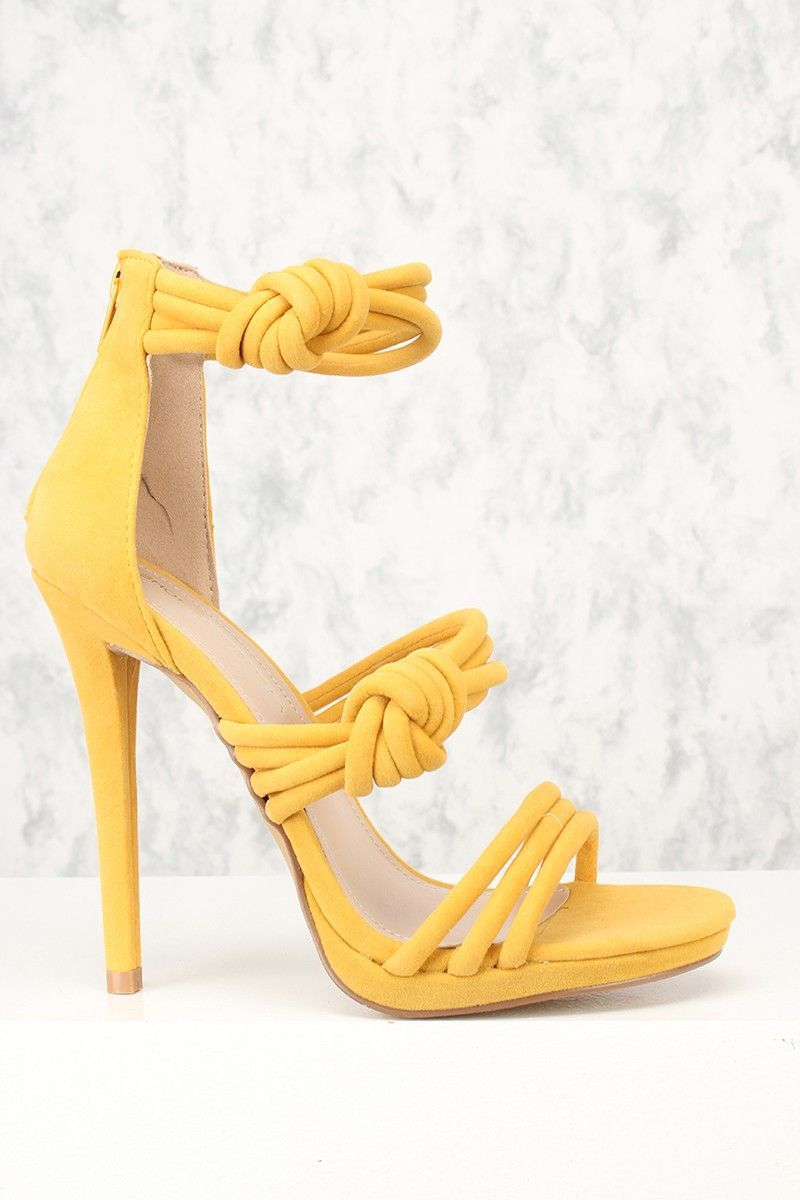 f1e34bd19d Sexy Yellow Open Toe Strappy Knotted Accent Single Sole High Heels ...