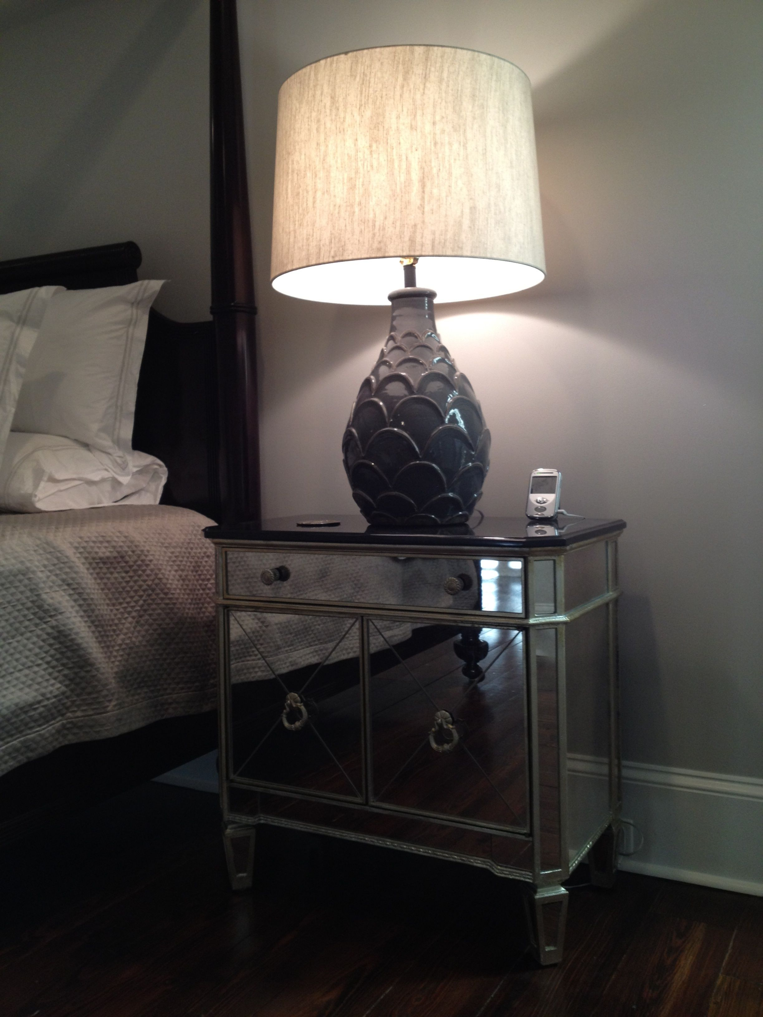 Light Grey Bedside Table: Mirrored Bedside Tables And New Lamps. The Oversized