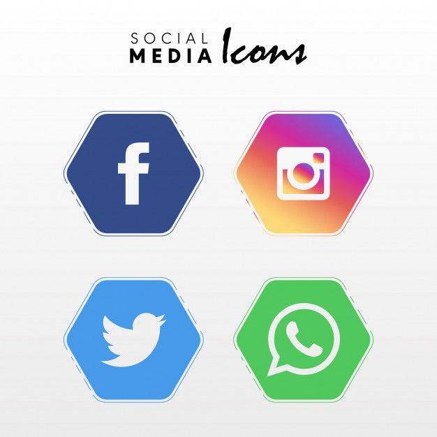 646ed87a2793d Descarga gratis vectores de Iconos de redes sociales populares en forma de  polígono establecen colección