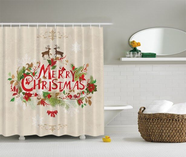 Deer Shower Curtain Decor Flowers Poinsettia Deers Christmas Decor By  Ambesonne Water Soap And Mildew Resistant Machine Washable Hooks Are  Included Cream ...