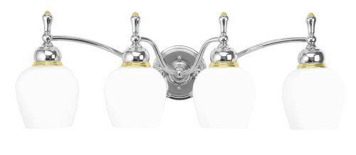 Moen 18012-16 Monticello Vanity, 4 Light, Opal White Glass