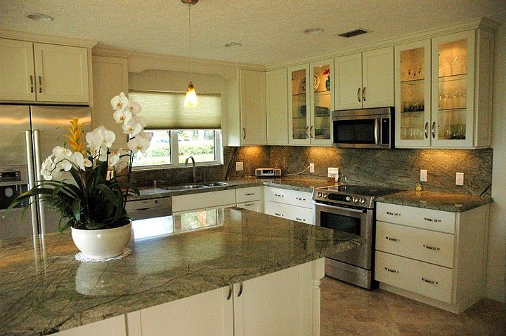 White Kitchen Cabinets With Green Granite Counters
