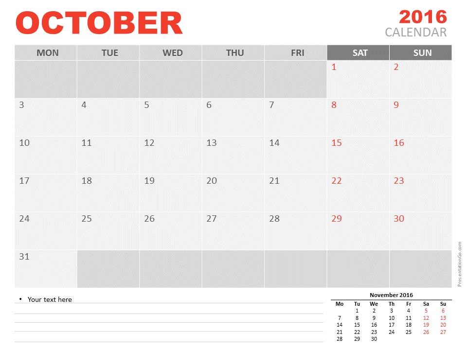 free october 2016 powerpoint calendar | calendar powerpoint, Modern powerpoint