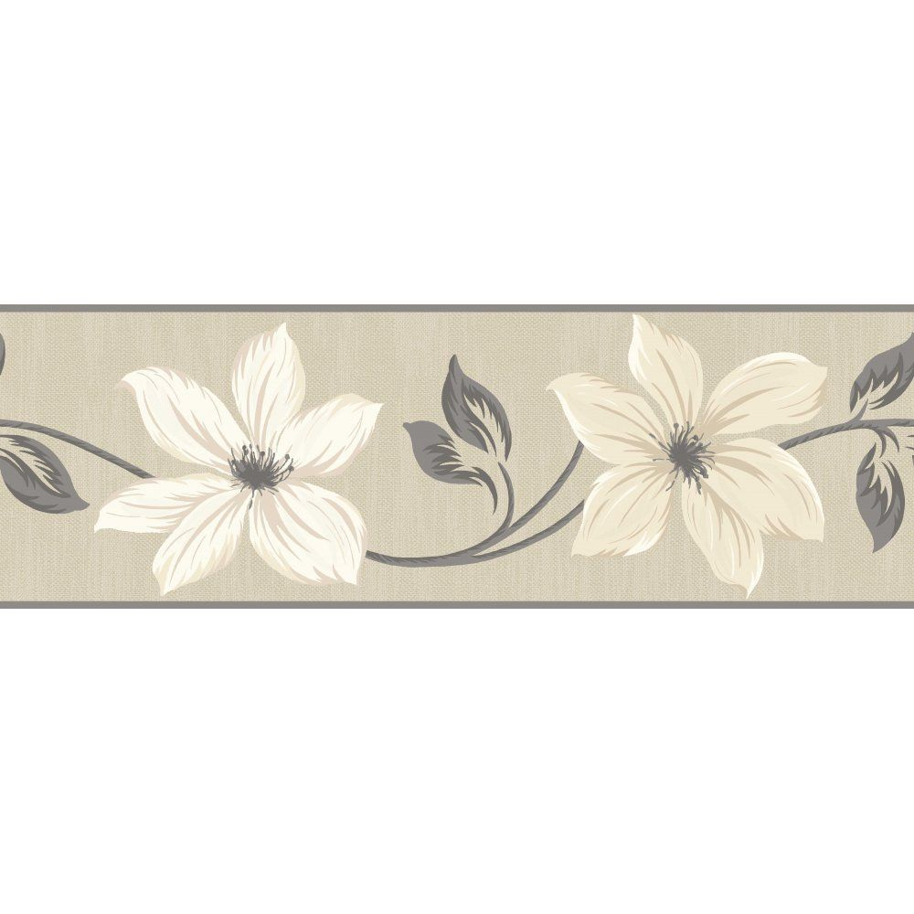 Gray and cream wallpaper border fine decor lily floral for Wallpaper decor