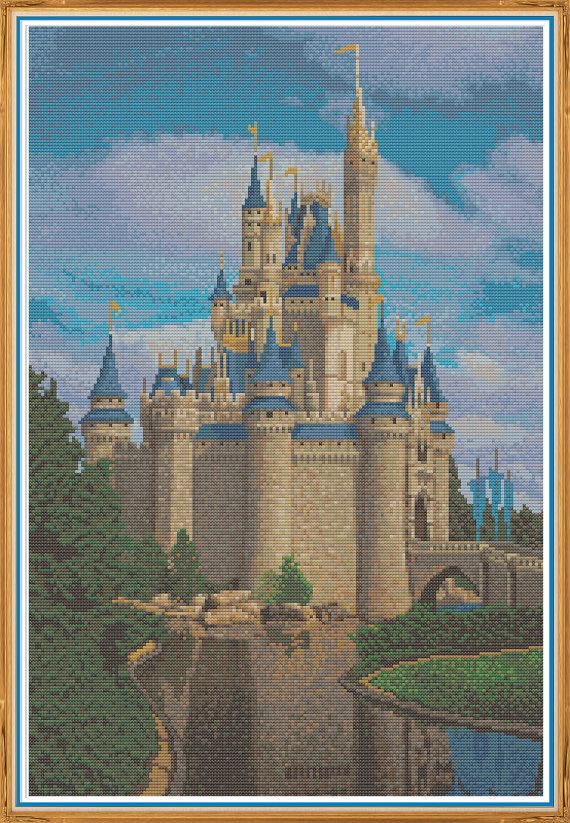 The Cinderella Castle Chart Counted Cross Stitch Patterns DIY Needlework
