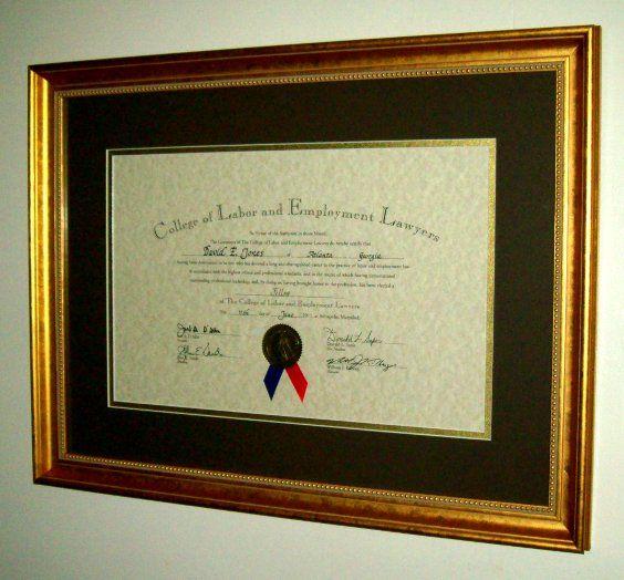 A Certificate We Designed On Site As Usual Framed Delivered And Installed For The Law Firm Of Ogletree Deakins Www Fr Diploma Frame Frame Custom Framing