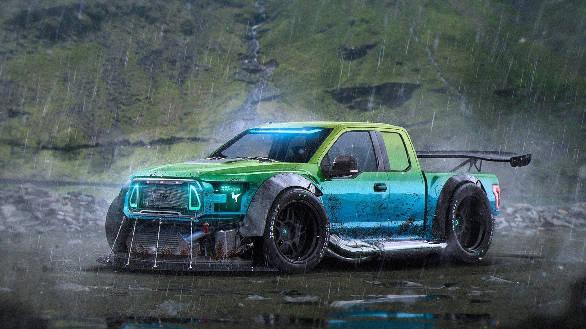 Скачать обои Ford F 150 Raptortrax Rain Car Rendering