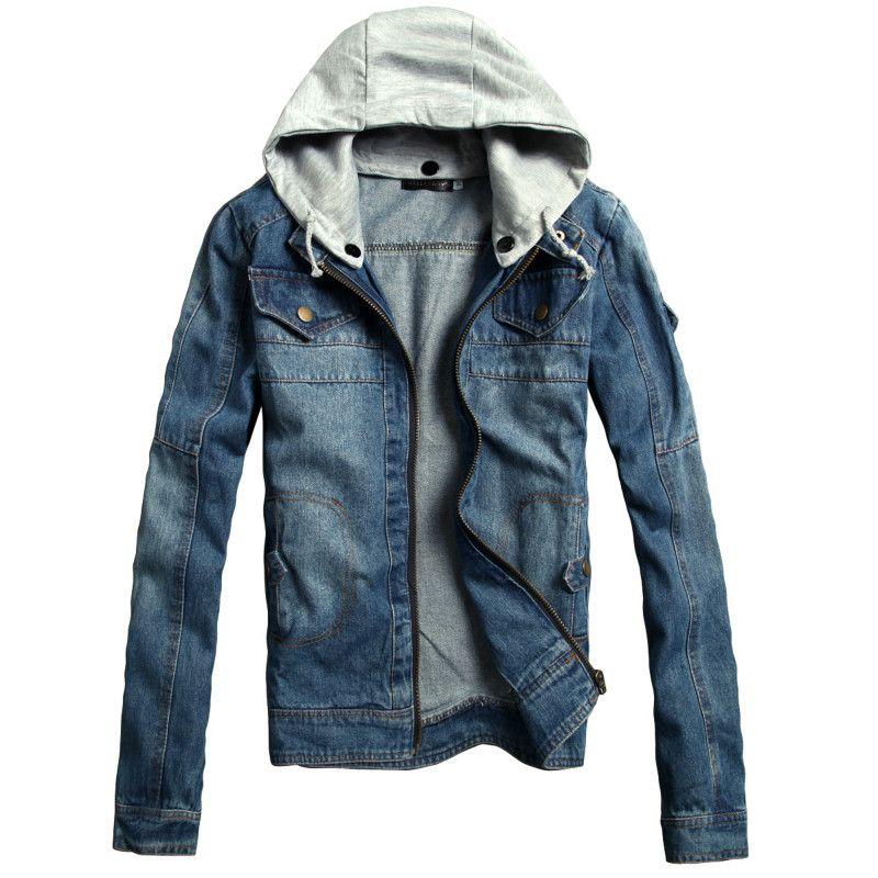 Free Shipping 2017 Jacket Men Washed Denim Hooded Burst Models Removable Hat Work Office