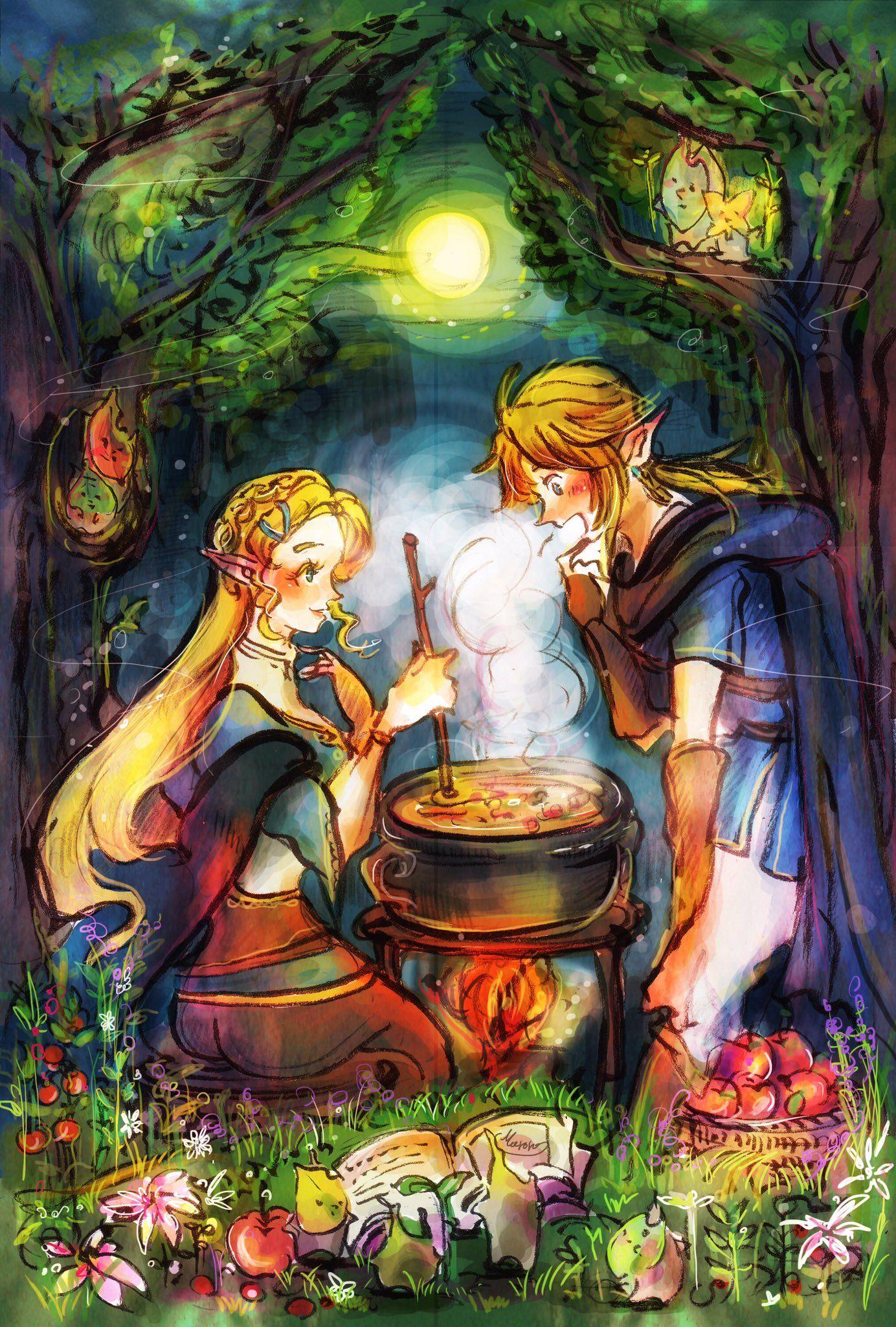 Link, Princess Zelda | Series artist: #Maroro210 | #Zelda #botw #Switch