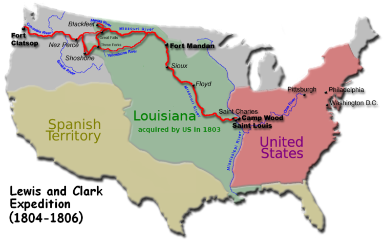 The Lewis And Clark Expedition Was The First American Expedition To - Map-of-us-in-1804
