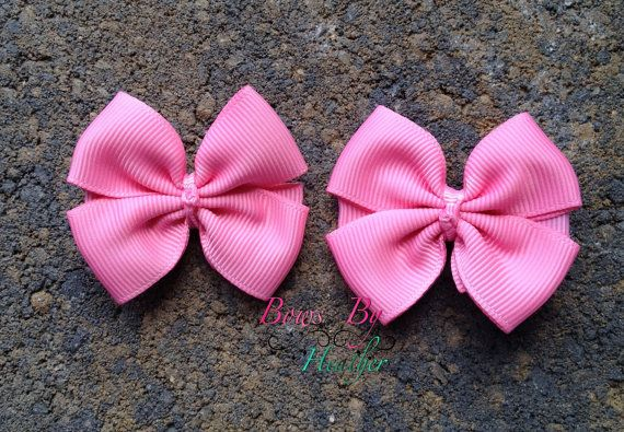 Pink Small Pigtail Bows by taylorstouch on Etsy