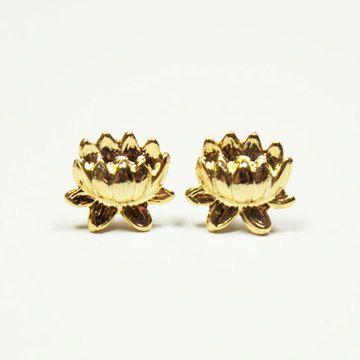 Lotus flower earrings by Blue Canary Vintage