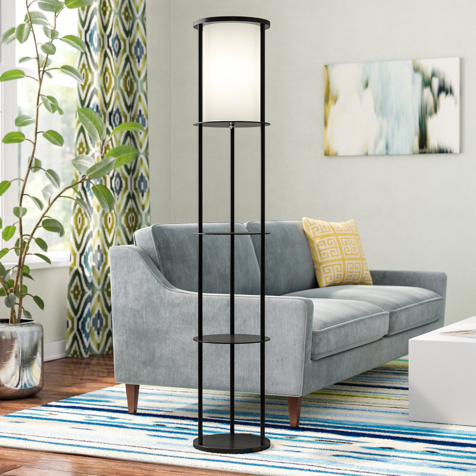 "Abeale 62.5"" Column Floor Lamp Cheap living room sets"