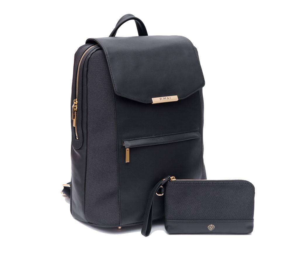 3da1e98fc49 Valletta Backpack & Wristlet - All Black | Style | Leather laptop ...