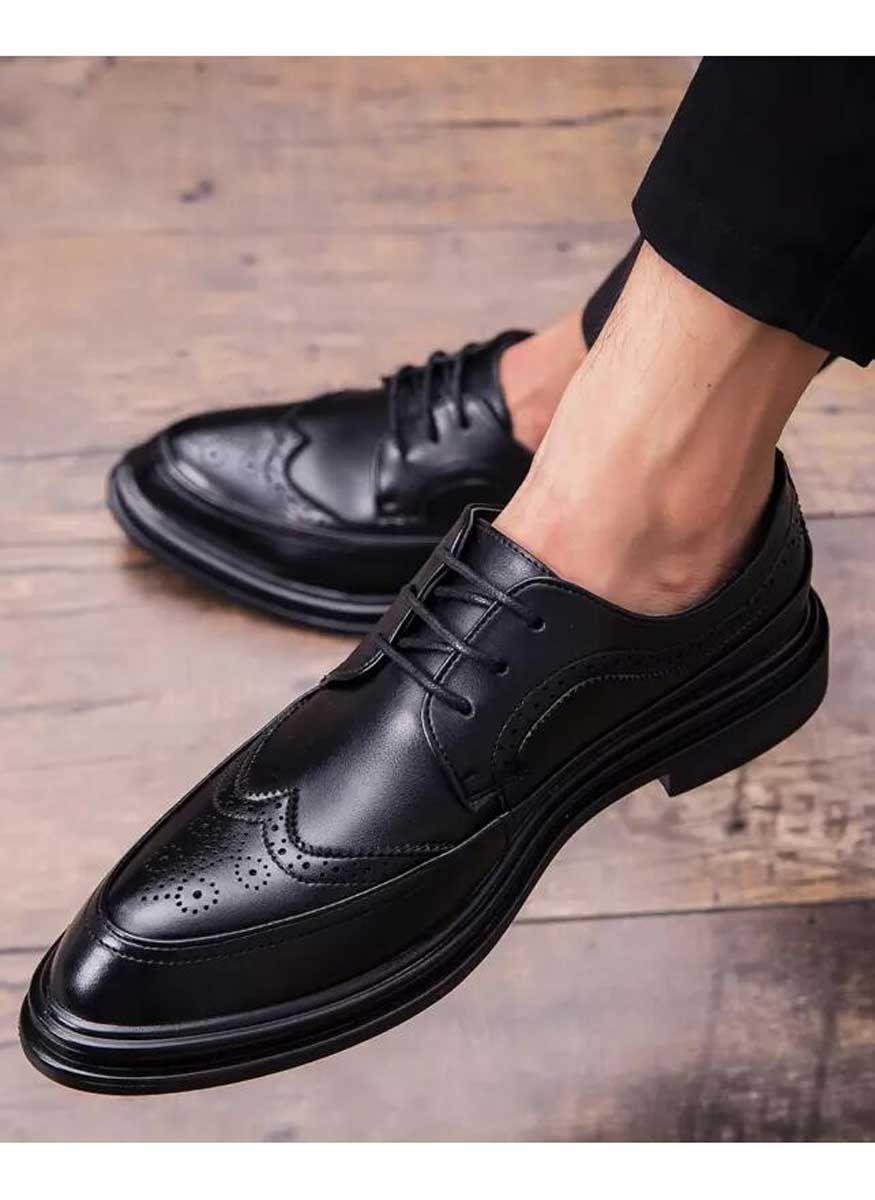 Black Retro Brogue Leather Derby Dress Shoe 1628 Dress Shoes Men Leather Shoes Men Mens Black Dress Shoes [ 1200 x 875 Pixel ]