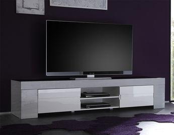 meuble tv hifi couleur bois gris moderne esmeralda 2 - Meuble Hifi Tv Bois