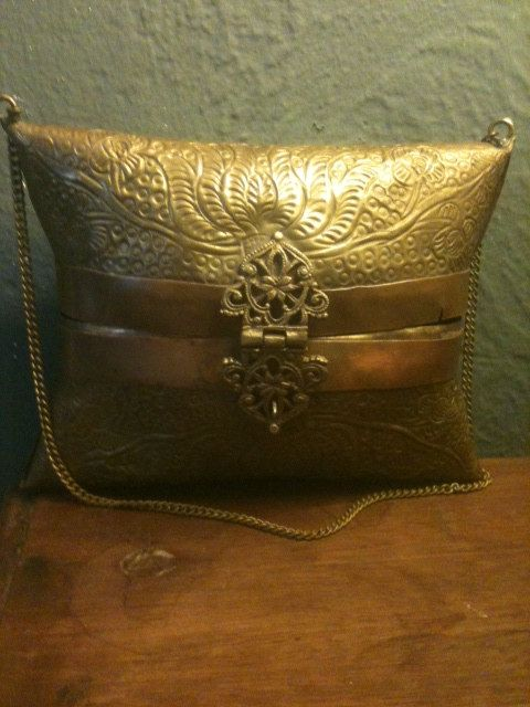 antique binocular case brass copper pillow