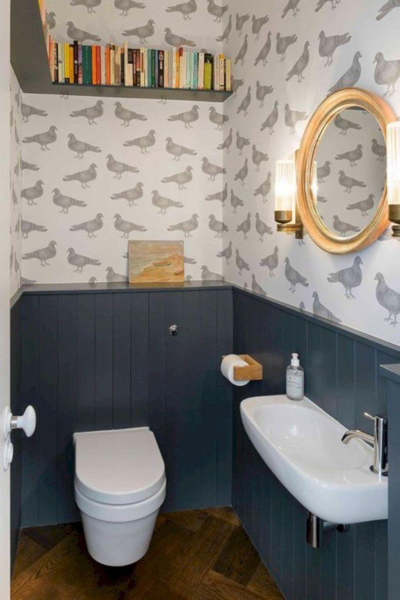 Image Result For Wallpaper Powder Room Black Floor Tiles Downstairs Bathroom Bathroom Design Small
