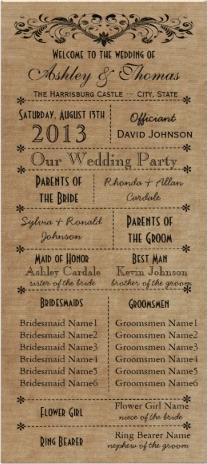 rustic typography wedding programs template wedding cupcake