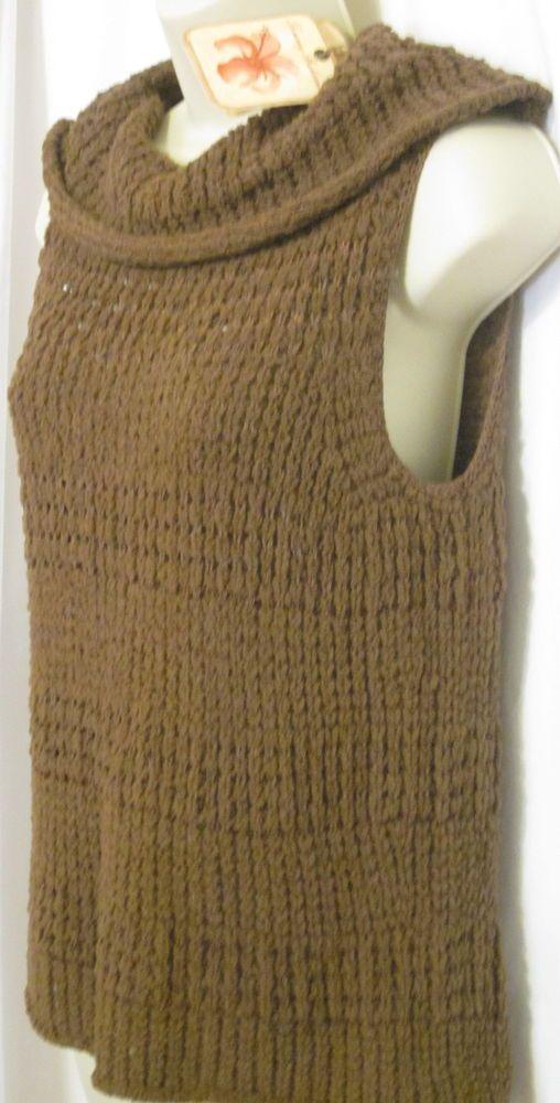 b50bb409b8848 Tommy Bahama Womens Brown Sleeveless Sweater New Cowl Miami Mix Medium 8 10