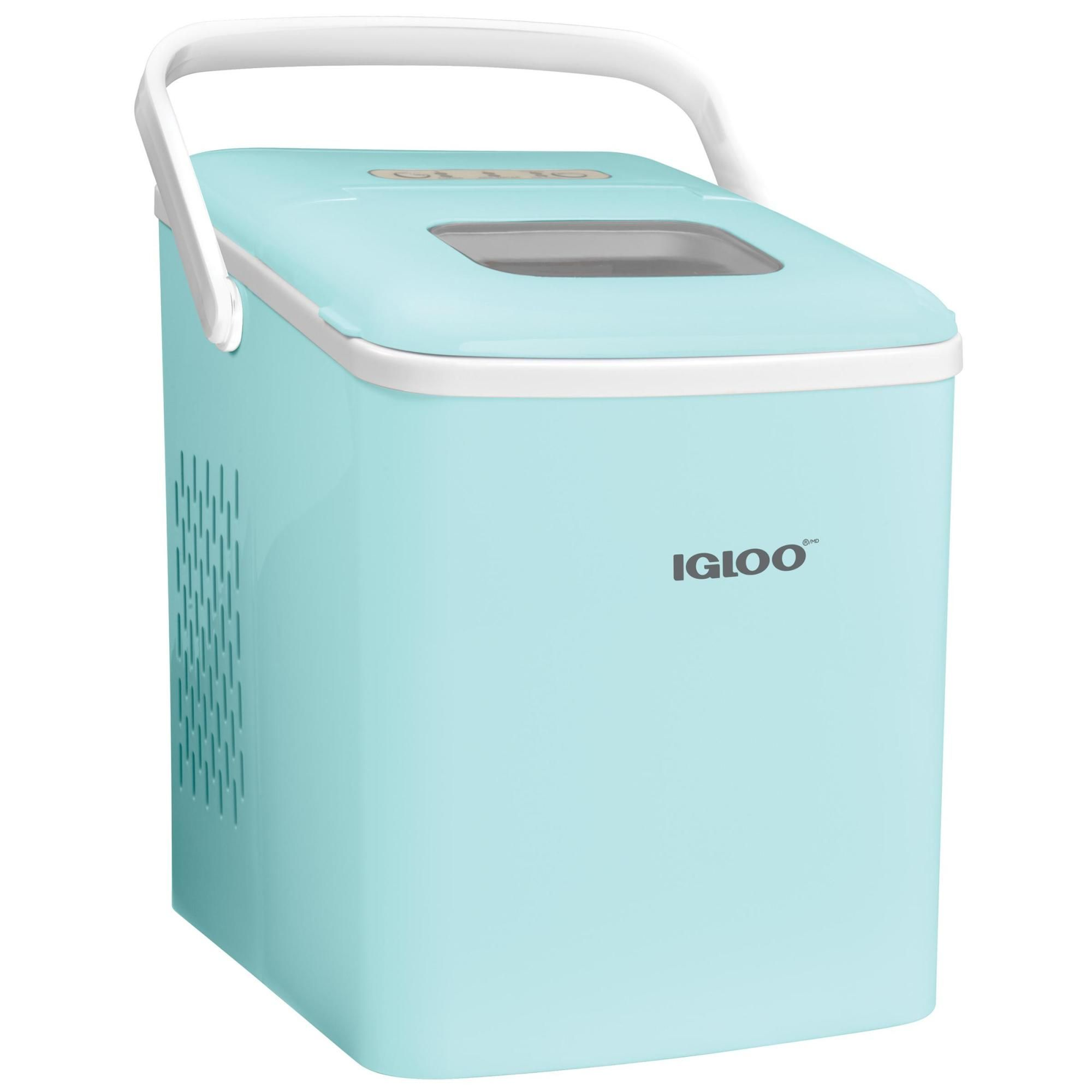 Igloo Iceb26hnaq 26 Pound Automatic Self Cleaning Portable Countertop Ice Maker Machine With Handle Aqua In 2020 Ice Maker Machine Ice Maker Ice Storage