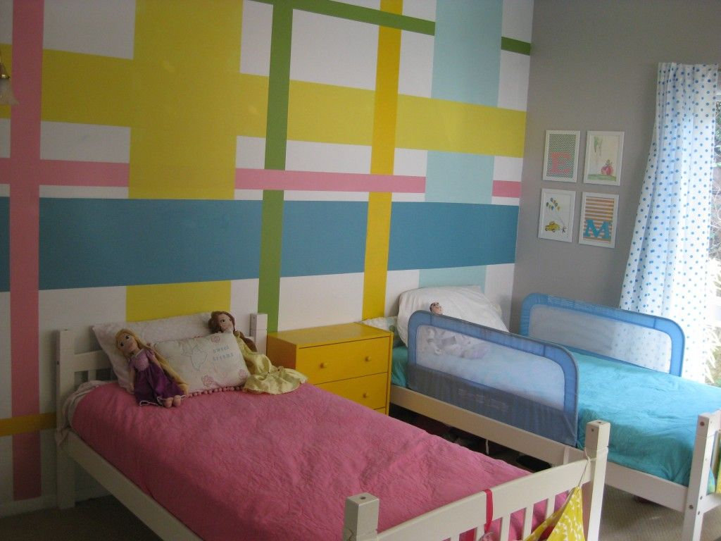 Delightful Boy + Girl U003d Shared Room. All Done With Painters Tape And Small Cans Of Part 22