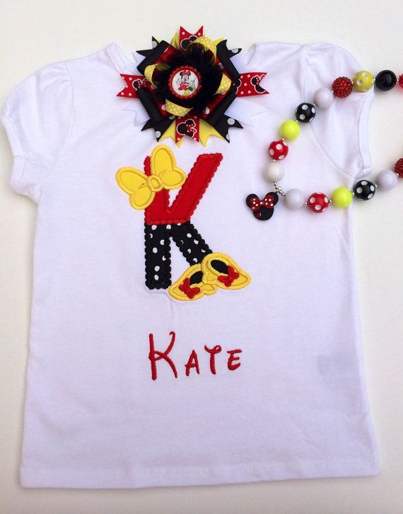 Girls Minnie Mouse Inspired t-shirt / girls by KorithasCreations