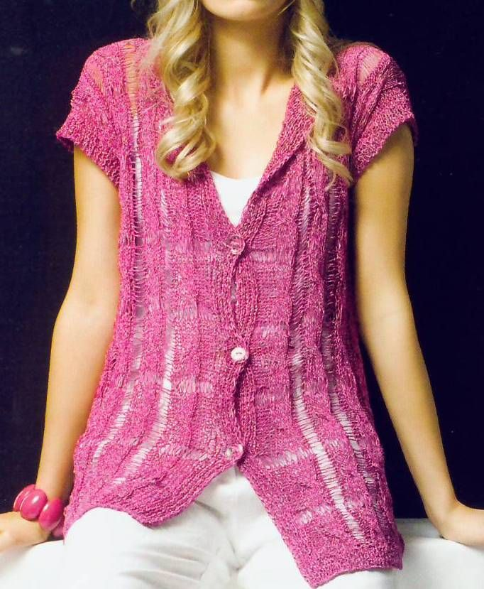 Chaleco con punto fantasia - long cap-sleeved cardigan w/ vertical panels of dropped stitches FREE knitting P in Spanish (hva)