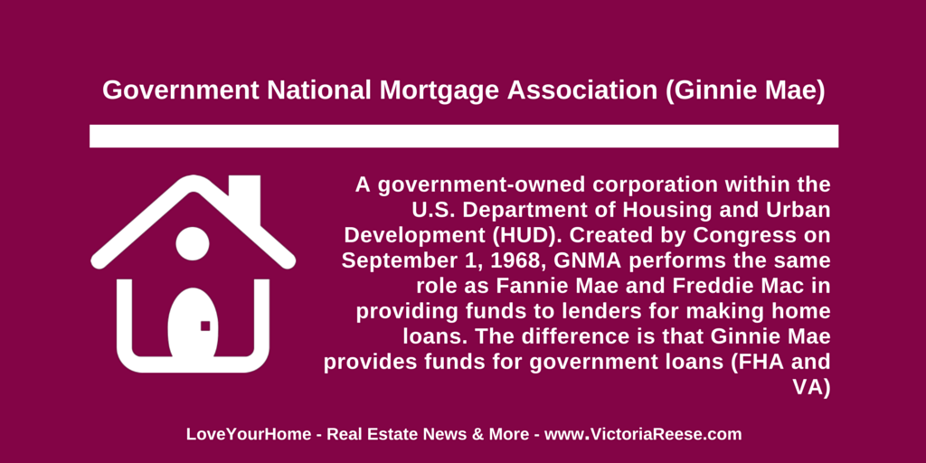 Today S Real Estate Term Government National Mortgage Association Ginnie Mae Loveyourhome Realestate Real Estate Exam Private Mortgage Insurance Origination Fee