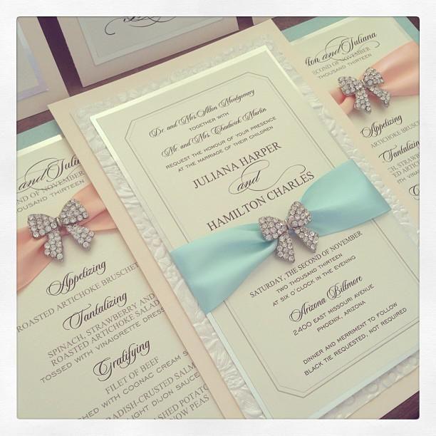 Tiffany Wedding Invitations: Peach And Tiffany Blue Wedding Invitation With Bow Bling