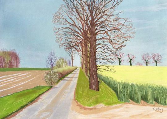 "Litchmere Lane, Kirby Cane. Pastel on paper 30""x 22""  Cornelia FitzRoy"