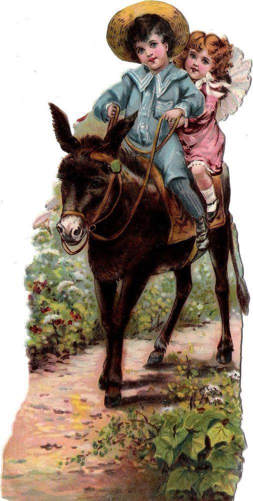 Oblaten Glanzbild scrap die cut chromo Kind child XL 20,8 cm enfant Esel donkey