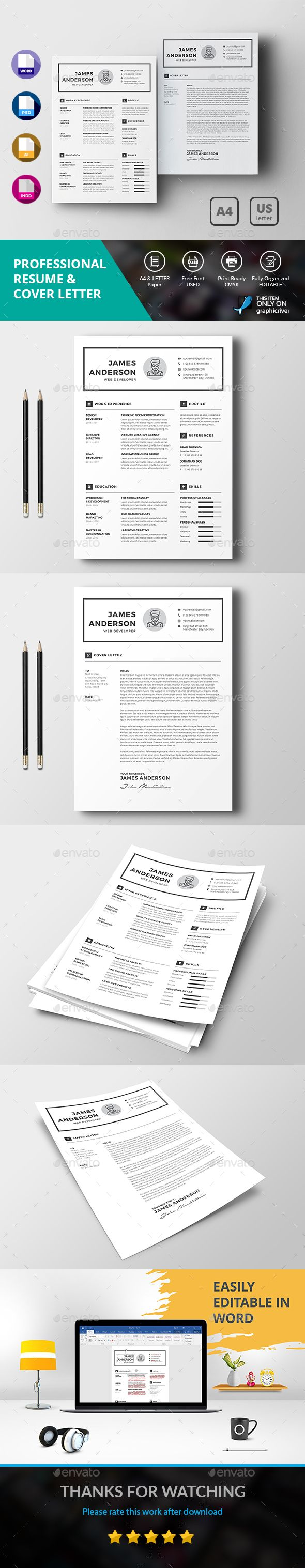 professional resume  u0026 cover letter template psd  vector eps  indesign indd  ai illustrator  ms
