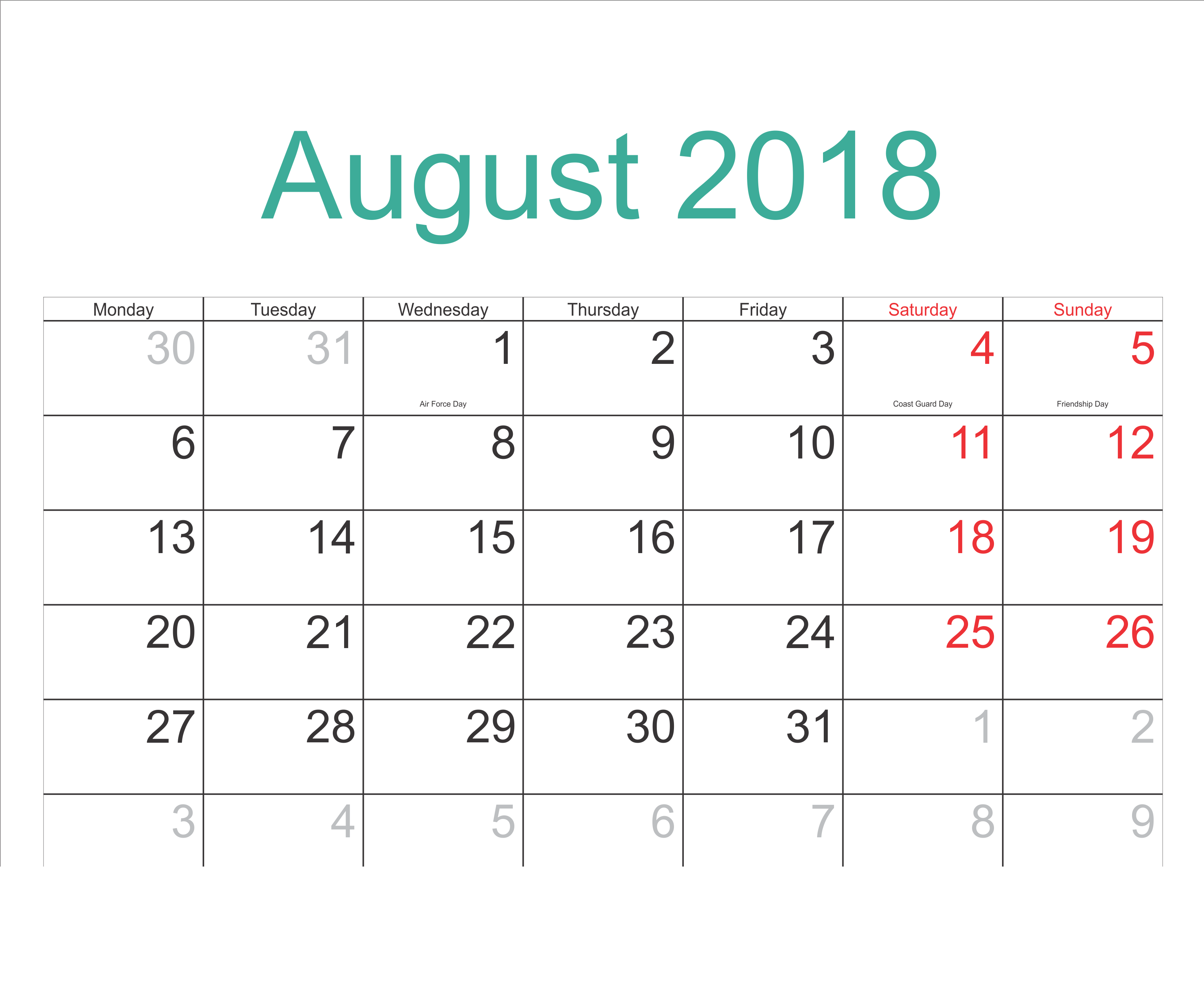 August 2018 Calendar With Holidays Usa Uk Canada India July