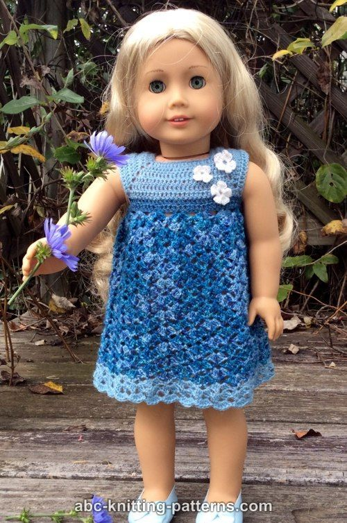 ABC Knitting Patterns - American Girl Doll Summer Stream Dress | All ...