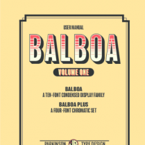 Balboa Plus, font by Parkinson Type Design.
