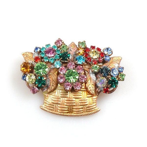 "Fascinating flower basket brooch, size 1.75"" x 1.25"". Price: $12.90"