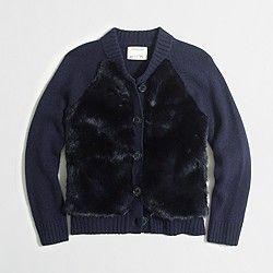 Factory girls' fur cardigan sweater