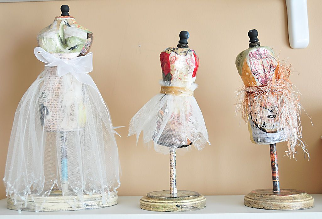 Paper Mache dress forms made from Coffee Creamer plastic containers