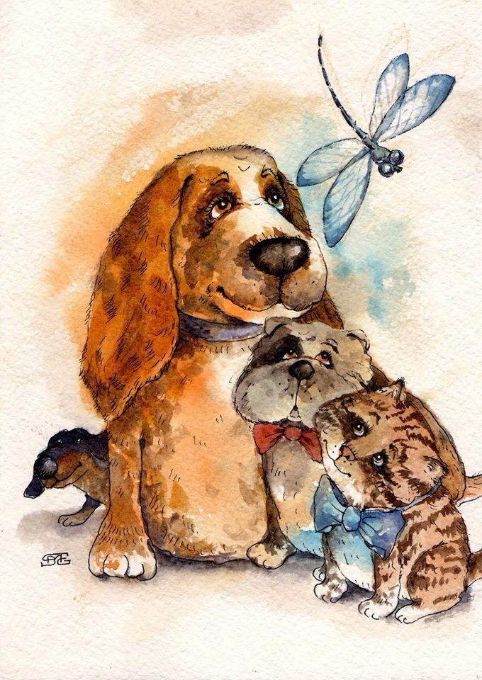 Картинки для декупажа собаки кошки