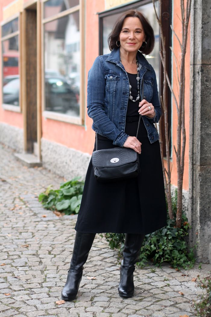 Midi Skirt and Casual Denim Jacket | Denim jackets