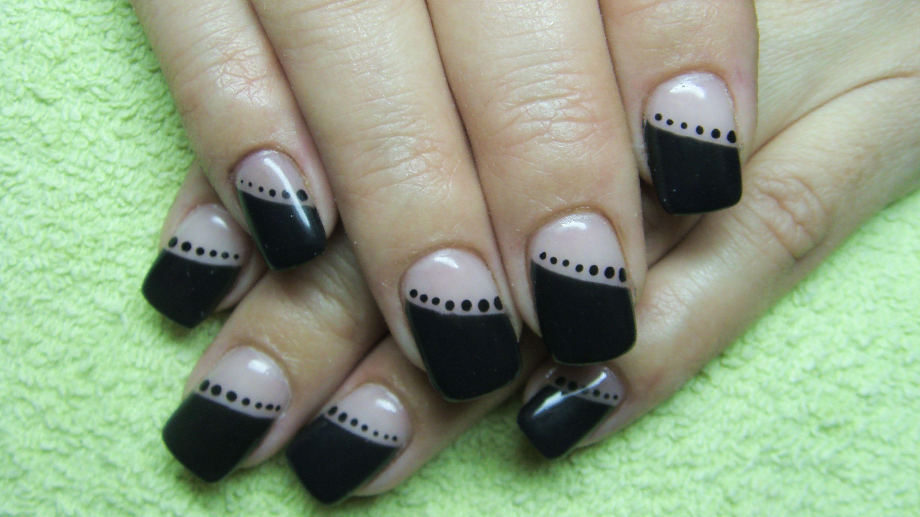 Black nails with black polka dots | classic nails | Pinterest