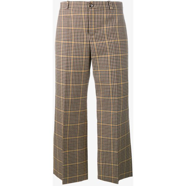BALENCIAGA Cropped Rockabilly Check Print Trousers (€505) ❤ liked on Polyvore featuring pants, capris, pant, print pants, brown pants, wide-leg trousers, striped pants and wide-leg pants