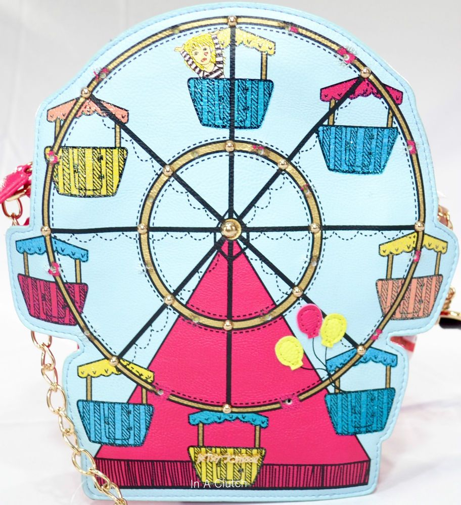 NWT BETSEY JOHNSON FUSCHIA FERRIS WHEEL CROSSBODY BAG MSRP $88.00 1224M #BetseyJohnson #MessengerCrossBody